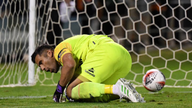 Roar goalkeeper Jamie Young failed to make a save during the penalty shoot-out at Redcliffe.