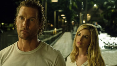 "Matthew McConaughey and Anne Hathaway in a scene from ""Serenity."""