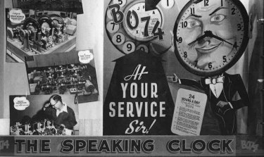 Posters for the talking clock in 1953.