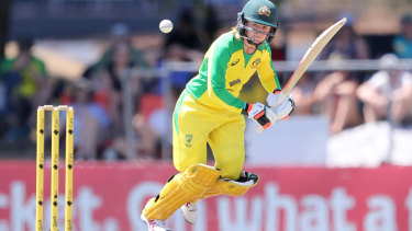 Rachael Haynes flicks one away during her century performance in Australia's win over Sri Lanka.