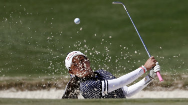 Atthaya Thitikul, of Thailand, hits out of a bunker on the 11th hole during the first round of the Augusta National Women's Amateur golf tournament last week.
