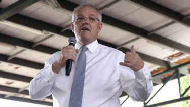 Scott Morrison on the campaign trail on Sunday.