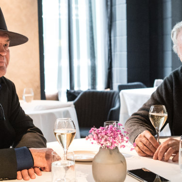 Micky Dolenz and Mike Nesmith at Steer Dining Room in South Yarra.