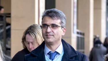 Seyyed Ali Farshchi leaves Melbourne Magistrates court.