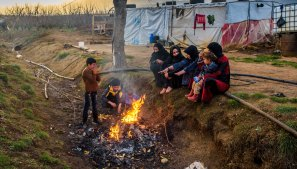 A Syrian refugee family in West Bekaa, Lebanon.