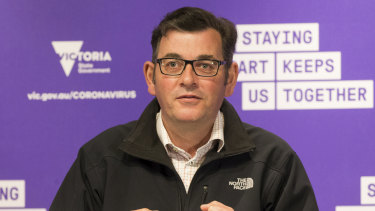 Premier Daniel Andrews in his North Face jacket on Monday.