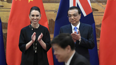 New Zealand's PM Jacinda Ardern and Chinese Premier Li Keqiang in Beijing in April this year.