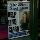 A missing poster in a shop window shortly after Ciara Glennon disappeared.