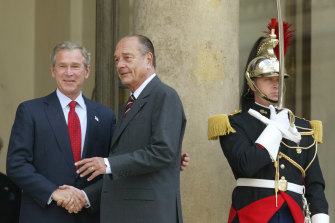 Chirac with then-US President George W Bush in 2004.
