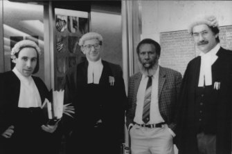 Solicitor Greg McIntyre, barrister Ron Castan, Eddie Mabo and barrister Bryan Keon-Cohen at the High Court of Australia 1991. From the film Mabo: Life of An Island Man .