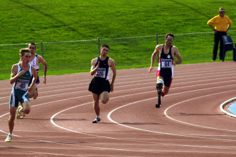 Athletes at the Australian track and field championships for athletes with a disability.