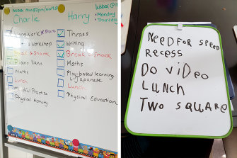 Left: Simone Lawrence is using tick-boxes with her two sons. Right: Six-year-old Alex has a go at writing his own schedule.