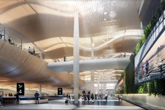 An artist's impression of the interior of the new terminal at Badgerys Creek.