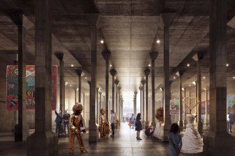 An artist's impression shows what the new Oil Tank Gallery could look like at Sydney Modern.
