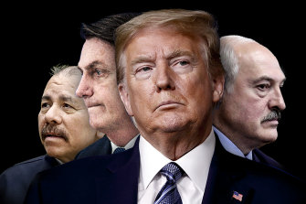 "The author argues US President Donald Trump has joined the ""Ostrich Alliance"" by comparing him to, from left, Nicaragua's Daniel Ortega, Brazil's Jair Bolsonaro, and Belarussian Alexander Lukashenko."