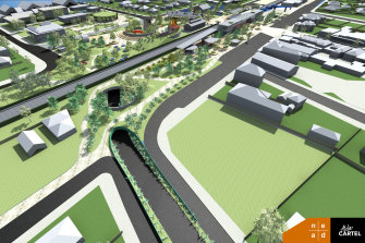 An artist's impression of the proposed road underpass at Euroa.
