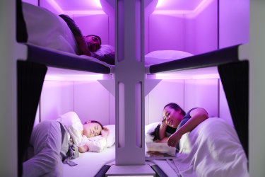 Supplied PR image for Traveller. Air New Zealand economy class bed design Skynest