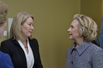 With Hillary Clinton at a Women's Empowerment Principles Leadership Group event in 2015.