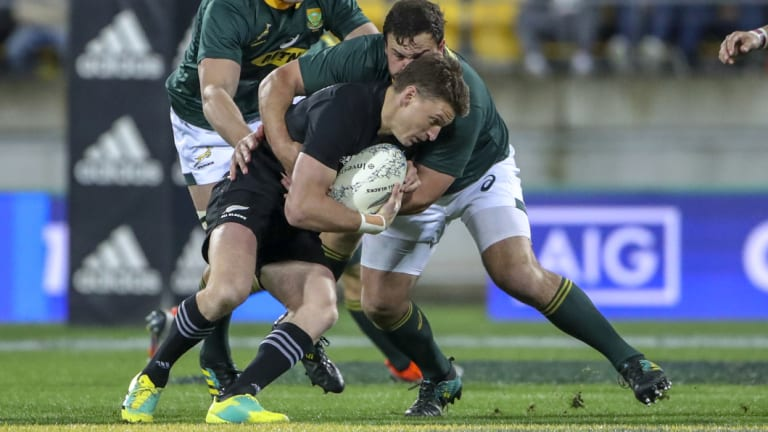Wrapped up: All Blacks No.10 Beauden Barrett was shackled effectively by the Springboks.
