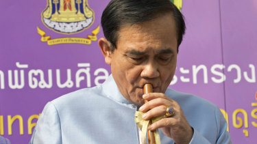 Thai Prime Minister Prayuth Chan-ocha, promoting Thai Heritage Conservation Day on Tuesday, looks the likely victor in the elections.