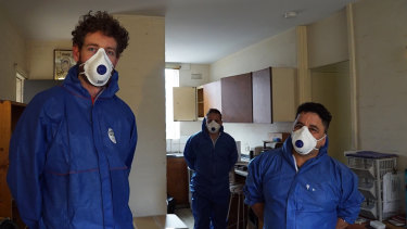 Melbourne Forensic Cleaners Josh Marsden, Carlos Lopez andDaniel Rodriguez on the job.
