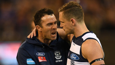 Cats coach Chris Scott with captain Joel Selwood during the elimination final loss to Melbourne.