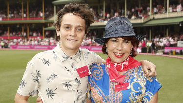 Kathy Lette and her nephew Riley O'Carroll at the SCG on Sunday.