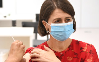 NSW Premier Gladys Berejiklian receives her second vaccination on June 2.