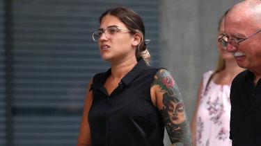 Mr Thompson's former girlfriend Siobhan Ferris leaves the Brisbane Supreme Court.