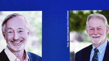 Americans Paul R. Milgrom, left, and Robert B. Wilson have won the Nobel prize for economics.