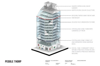 A concept planby architects Peddle Thorp of a tower that could be built on the Corkman site in Carlton.