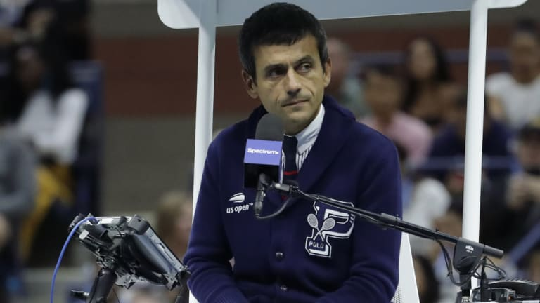 Support: Chair umpire Carlos Ramos during the US Open final.