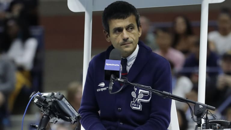 Chair umpire Carlos Ramos during the US Open final.