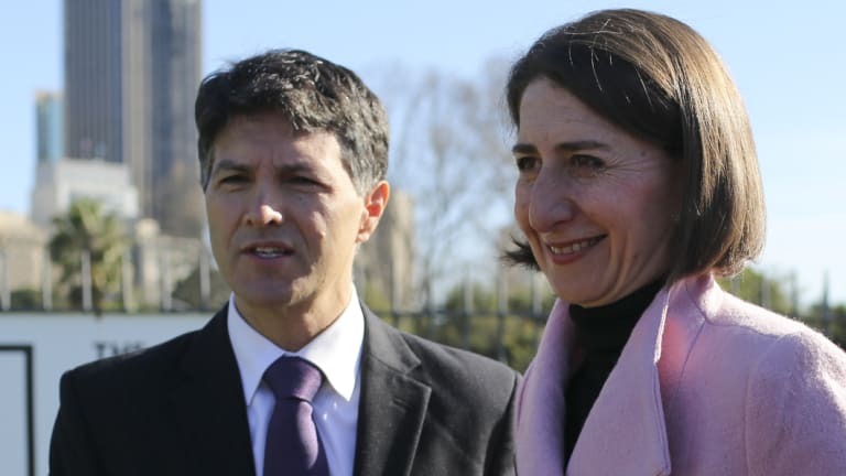 Finance Minister Victor Dominello with Premier Gladys Berejiklian.