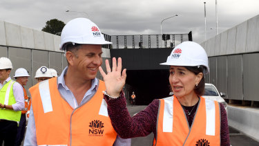 NSW Premier Gladys Berejiklian (right) and Minister for Transport and Roads Andrew Constance inspect the almost-completed M4 WestConnex tunnels in Sydney,