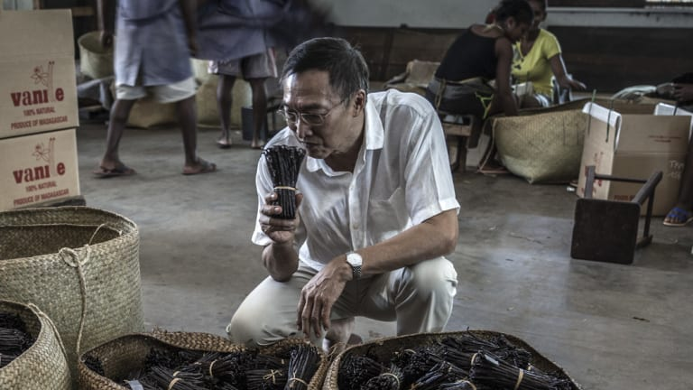 Michel Lomone smells cured vanilla pods at his warehouse in Antalaha.