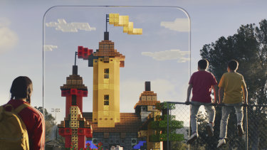 The game will let players collaborate and mine in public areas, and build their own worlds at home.