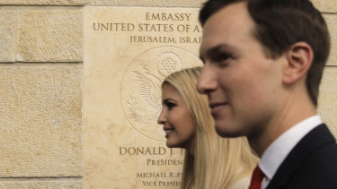US President Donald Trump's daughter Ivanka, left, and White House senior adviser Jared Kushner attend the opening ceremony of the new American embassy in Jerusalem on Monday.