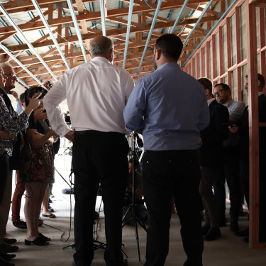 Scott Morrison speaks to the media during a campaign stop in Townsville.