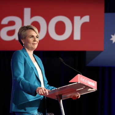 Tanya Plibersek warms up the crowd at the Labor campaign launch in Brisbane.