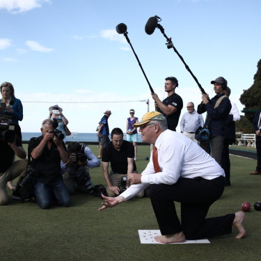 Scott Morrison and the member for Corangamite Sarah Henderson visit Torquay Bowls Club in Torquay.