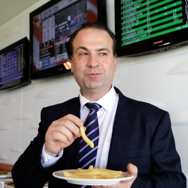 """V'landys' preference is for plain food, especially hot chips. """"It's the Wollongong in me,"""" he says."""