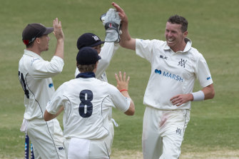 Peter Siddle and his Victorian teammates celebrate the key wicket of Daniel Solway at the SCG on Monday.