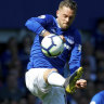 Manchester United's Diogo Dalot challenges and Everton's Gylfi Sigurdsson at Goodison Park on Sunday.