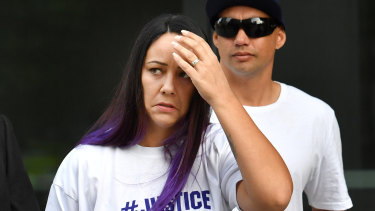 Cindy Palmer, the mother of murdered schoolgirl Tiahleigh Palmer, arriving at the Supreme Court in Brisbane on Friday.