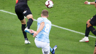 Stunner: Riley McGree fires home the opening goal for Melbourne City.