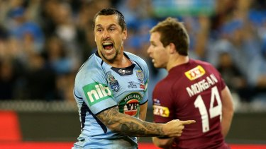 Different shades in blue: Mitchell Pearce has had a tumultuous relationship with the NSW jersey.