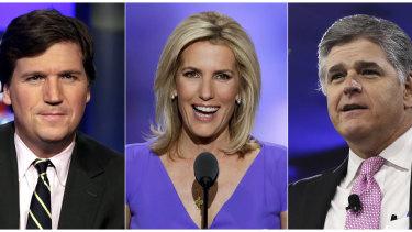 Fox News hosts Tucker Carlson, Laura Ingraham and Sean Hannity reach millions of viewers each night.