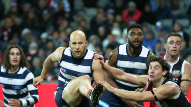 Gary Ablett of the Cats snaps one of two goals.
