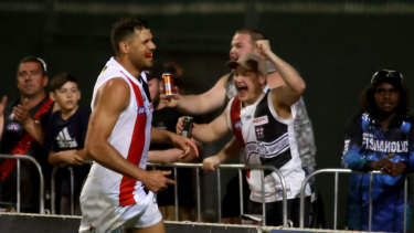 Paddy Ryder celebrates a goal for the Saints.
